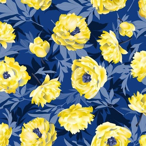 peonies yellow on blue - large scale