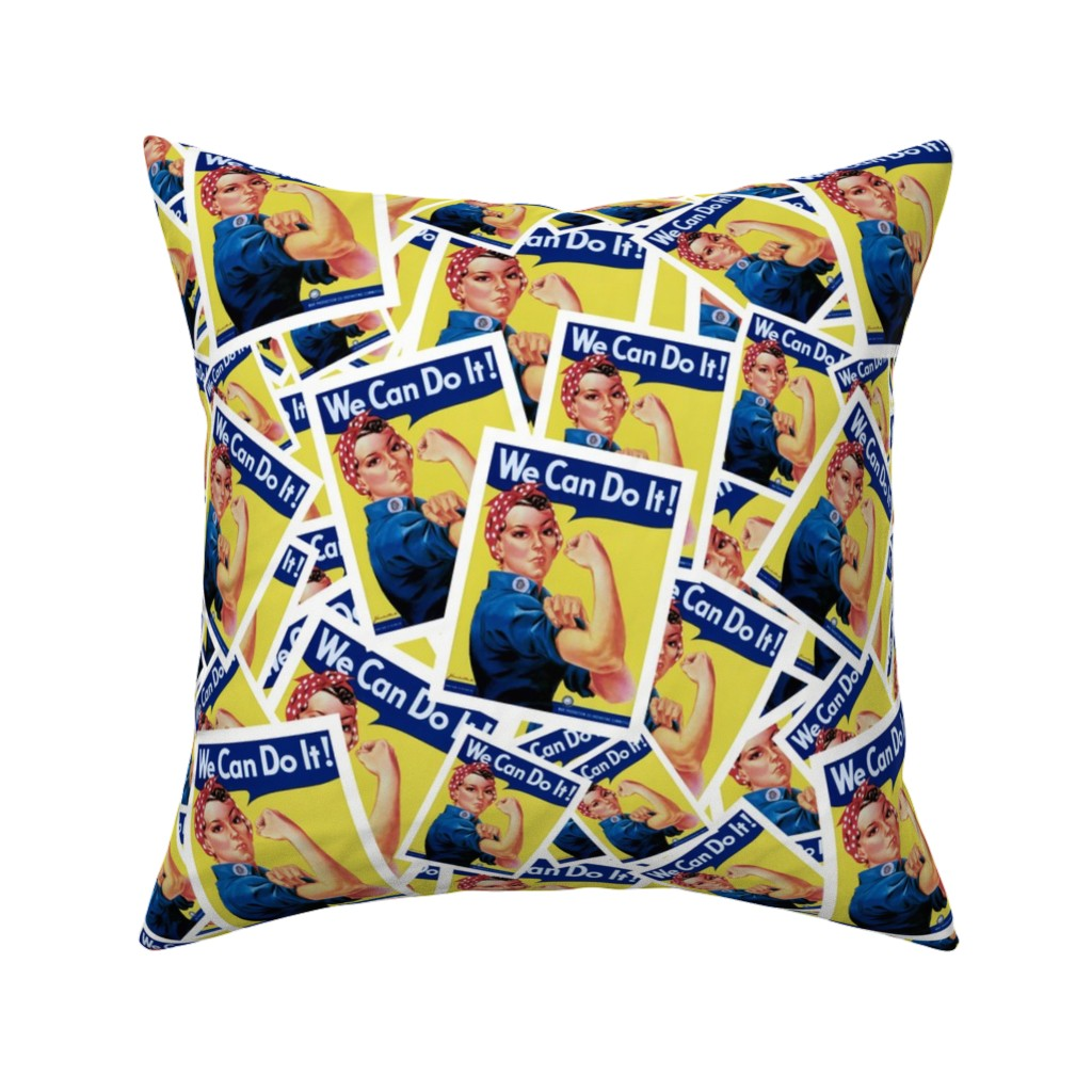 Catalan Throw Pillow featuring Rosie the Riveter by spacefem