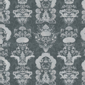 Oriental damask with cranes