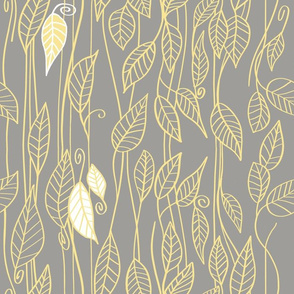 Modern Leaves in yellow and gray