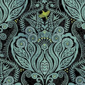 Hapuu Fern Damask patina and black iiwi bird with lace