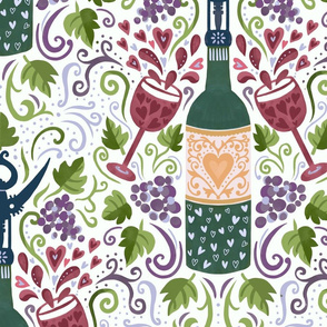 For the love of wine damask