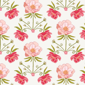 Floral Damask-Pink and Mint