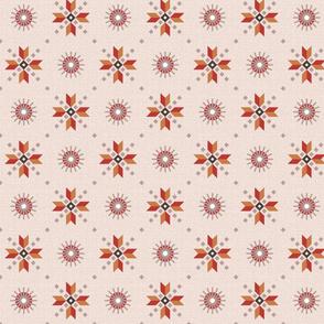 retro stars foulard red on light pink medium