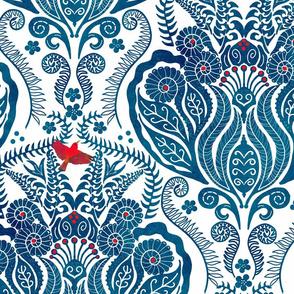 Hapuu Fern Damask blue and white iiwi bird
