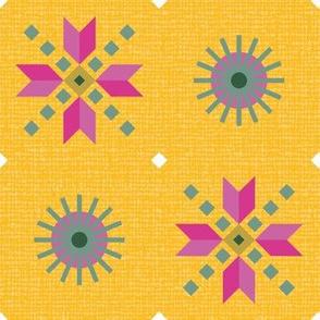 retro stars foulard pink on goldenrod large