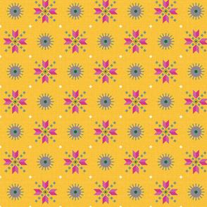 retro stars foulard pink on goldenrod medium