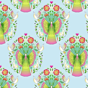 Garden Fairy Damask Wallpaper