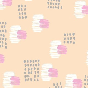 Abstract raw brush dots and dashes pop design in blush apricot cream pink grey