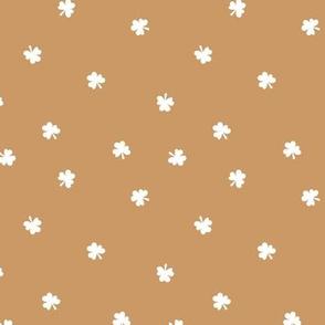 The minimalist clovers green St Patrick's Day irish shamrock lucky charm cinnamon white burnt orange