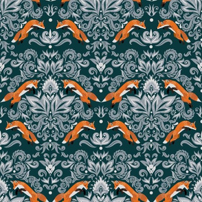 Damask Pattern with Fox (small scale)