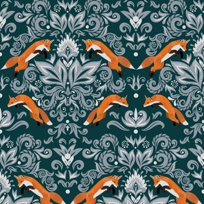 Damask Pattern with Fox (large scale)