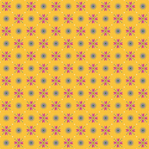 retro stars foulard pink on goldenrod small