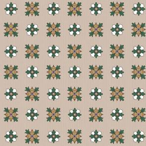 geometric rosette foulard on greige medium