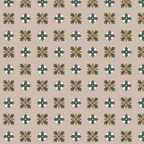 geometric rosette foulard on greige small