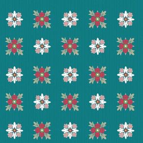 geometric rosette foulard on teal large