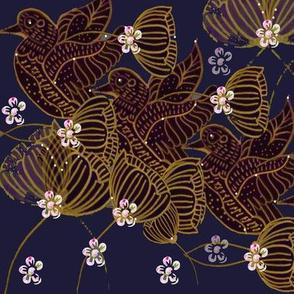 Art Nouveau Gold Flying Ducks On Navy