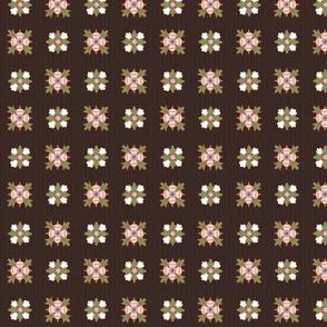geometric rosette foulard on dark brown small
