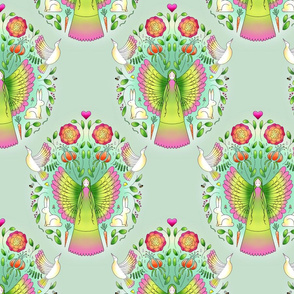 Garden Fairy Damask-Green-Wallpaper