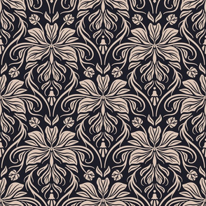 Bauhinia Damask - Black and Beige