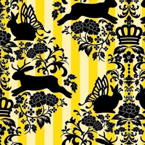 whimsical rabbits yellow damask