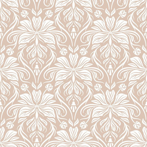 Bauhinia Damask - White and Beige 01