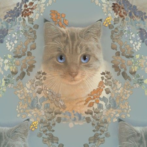 Large Damask of Cats in Soft Gray and Beige