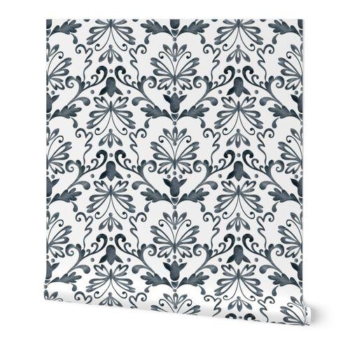 Damask gray pattern on white