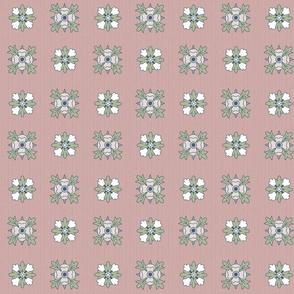 geometric rosette foulard on grayish pink medium
