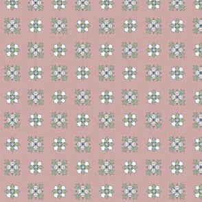 geometric rosette foulard on grayish pink small