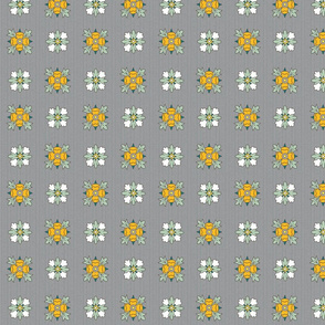 geometric rosette foulard on gray small