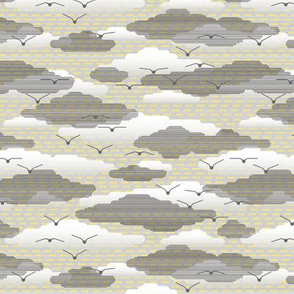 clouds on yellow stripes - small