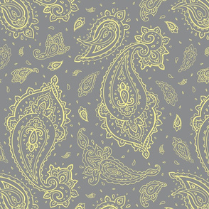 Bandana Paisley Yellow on Gray Design Challenge
