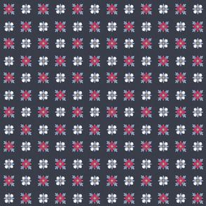 geometric rosette foulard on blue small