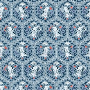Small dino floral damask blue