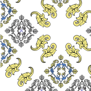 Blue Yellow Damask