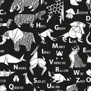 Normal scale // Origami ABC animals // black background white paper geometric animals
