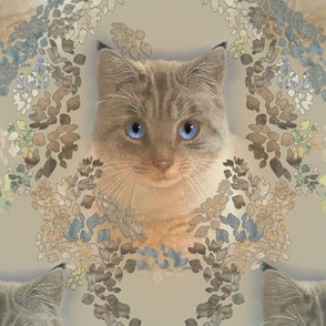 Large Damask of Cats in Golden Beige