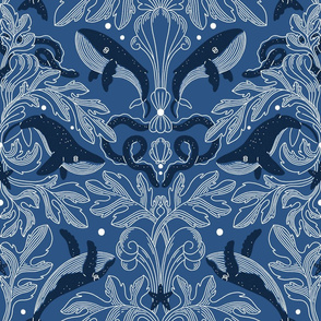 Nautical damask pattern with whales, large scale