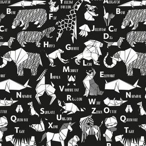 Small scale // Origami ABC animals // black background white paper geometric animals