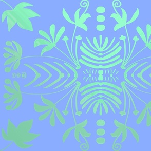 C--PERIWINKLE BLUE AND GREEN  DAMASK