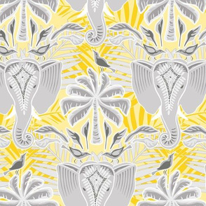 ganesha damask  golden yellow and gray - small scale