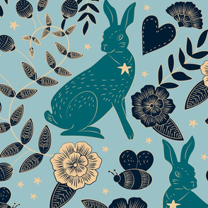 bunnies and bees damask