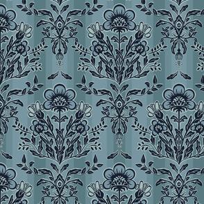 Floral Damask 2 - Blue - Garden Quail Collection