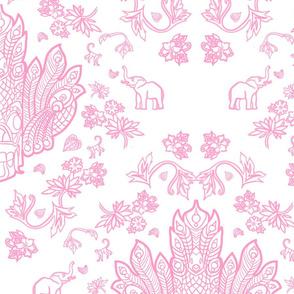 Mayura Raksha Pink on White