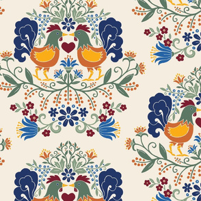 Rooster Damask Multicolor