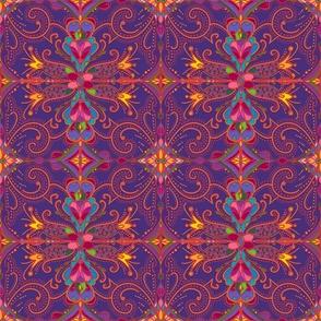 Folk Damask on Purple