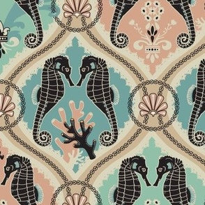 Seahorse Damask Fabric - Whimsical Victorian TMEYERCLARK