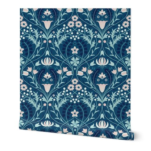 Art-Nouveau-Damask L wallpaper scale moonlight by Pippa Shaw