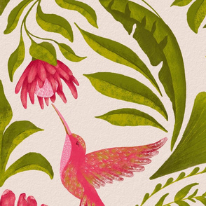 Hummingbird Damask - Jumbo Scale